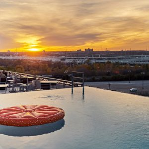 Sunset view from the infinity pool at CANVAS Hotel Dallas