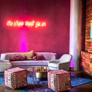 Furniture and Neon Artwork at CANVAS Hotel Dallas