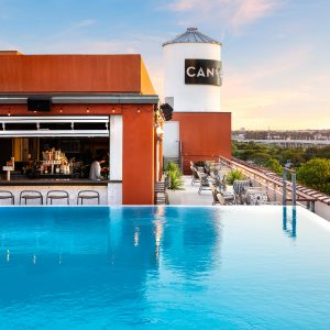 Canvas daytime rooftop pool