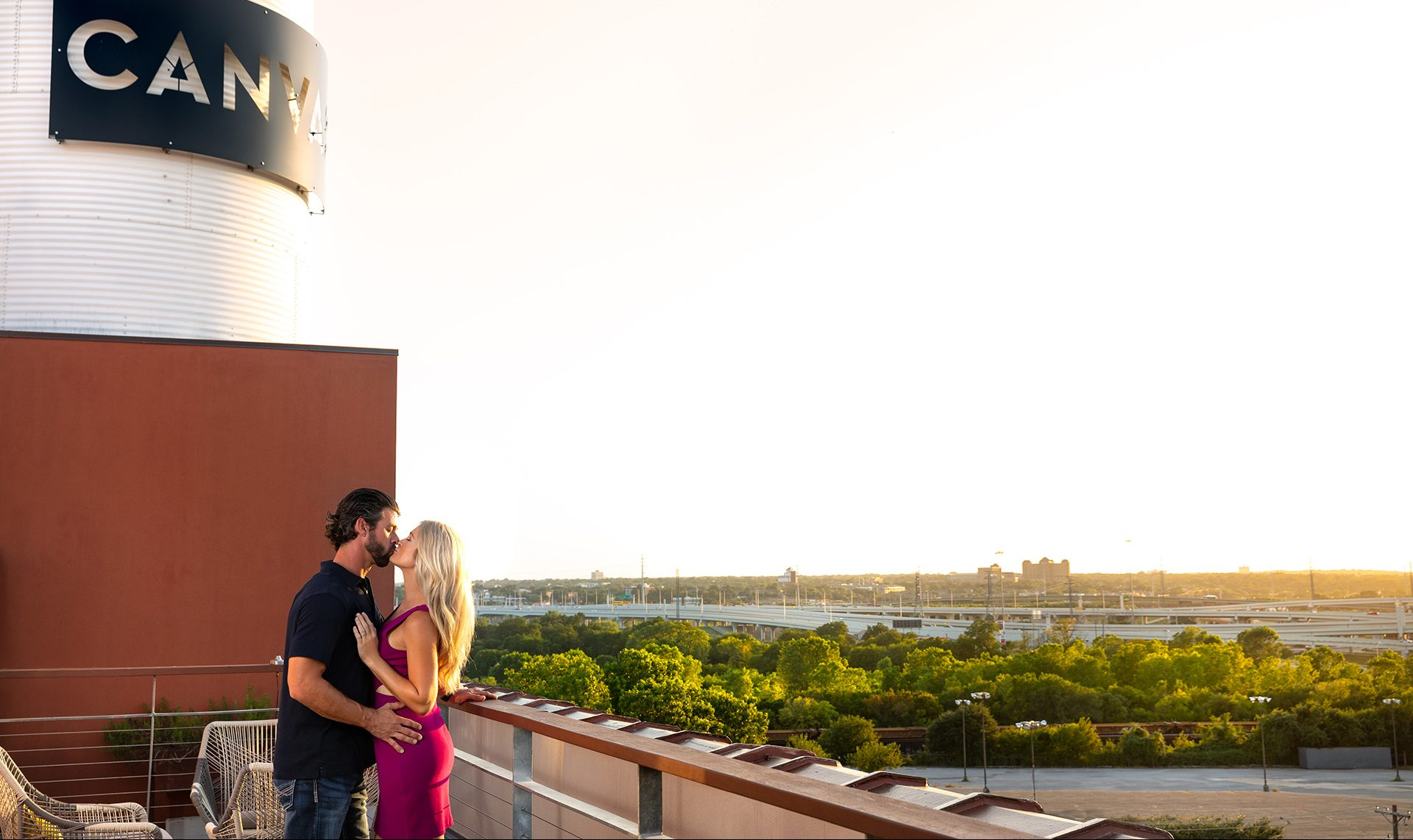 Couple enjoying Canvas rooftop with view