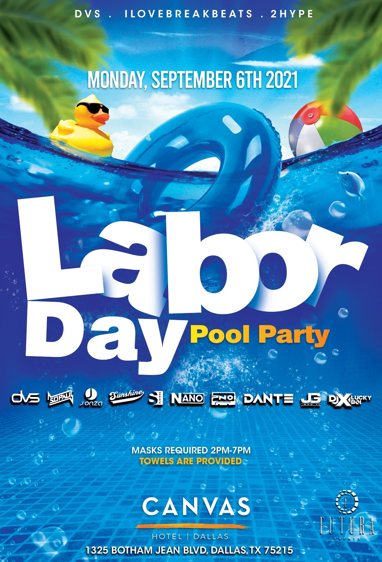 Labor Day Pool Party Flyer With Water and Logos